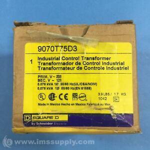 Square D 9070T75D3 Control Transformer, 75VA, 3.60 In. H FNOB