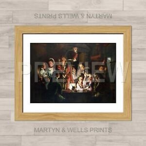 Joseph Wright of Derby framed print: An Experiment. Textured canvas paper.
