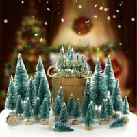 Mini Sisal Christmas Trees Ornament Snow Frost Small Pine Tree XMAS Decor Gifts