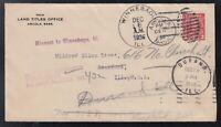 Canada 1936 Cover Saskatchewan MISSENT TO WINNEBAGO USA Illinois