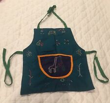 Child's Play Kitchen Apron Accessory Hand Embroidered Giraffes Green