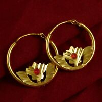 Indian Designer Goldplated Traditional Earrings Pendant 18K Hoop Fashion Jewelry