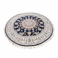 "6'10""x6'10"" Hand Knotted 250 Kpsi Wool And Silk Navy Blue Nain Round Rug R47663"