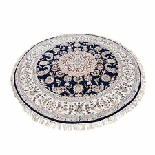 """6'10""""x6'10"""" Hand Knotted 250 Kpsi Wool And Silk Navy Blue Nain Round Rug R47663"""