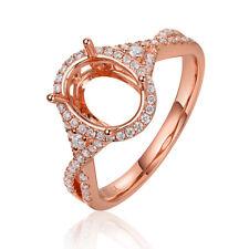 14K Rose Gold 7x9mm Oval Cut 0.29ct Full Cut Diamond Engagement Ring Setting