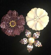 LOT 3 Vintage 50s 60s Enamel Purple Flower Power Brooch Pin Estate Jewelry