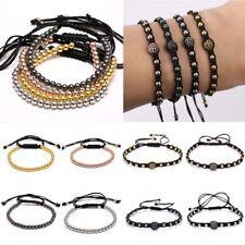 Men Handmade Knitted Bracelet With Black Rope Adjustable Beads Bracelet Bangle
