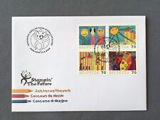 SWITZERLAND FDC 15.9. 2000 HELVETIA Stampin' the future Zeichenwettbewerb Dessin