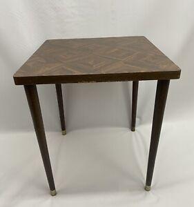 Vintage Mid Century Modern Parquet Wood Top Side Table Wood Tapered Peg Leg