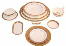 New Auratic East Meets West Bone China 12 Piece Dinner Set CP12-J09-38Y Gold