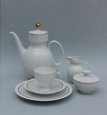Kaffeeservice für 6 Personen Kaiser Porzellan, reliefiert, Goldrand  21 Teile