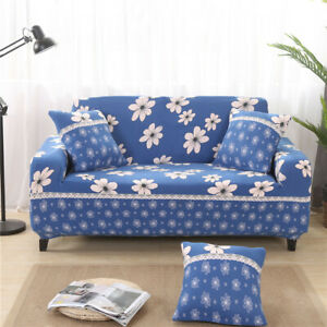 2-Seater Elastic Spandex Sofa Slipcover Couch Settee Cover Case -Blue Floral