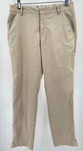 Puma Tech Golf Pants Men's Size 30x32 Khaki Tan Sport Lifestyle Logo Pre-owned