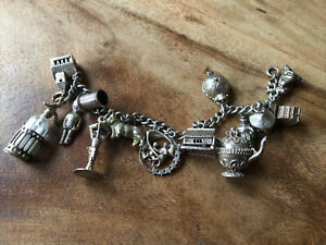 Exquisite Vintage Silver Charm Bracelet With 15 Various Charms 60g