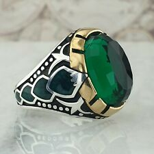 Solid 925 Sterling Silver Mens Ring Green Emerald Gemstone HandMade Turkish