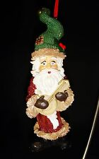 """Santa Claus Elf Ornament Figurine Christmas Holiday 5.75"""" Mandolin Guitar"""