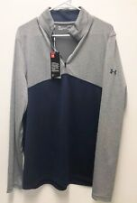 Under Armour UA Golf Outerwear Pullover Half Zip Grey Loose Fit Blue L