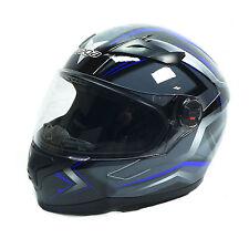 Vega AT2 Blue Flash Full Face Motorcycle Helmet Chopper Bobber DOT Approved