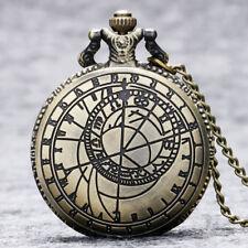 Vintage Bronze Clamshell Geometry Pattern Quartz Pocket Watch Arabic Number Dial