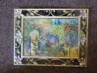 Frame Photo Holds 5x7 Metal Brushed Nickle Finish with purple flowers EUC