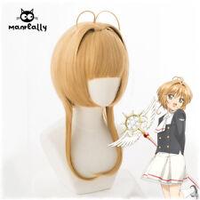 Cardcaptor Sakura KINOMOTO SAKURA Anime Cosplay Milk tea orange Color Wig Cute