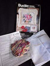 Bucilla Stamped Cross Stitch Kit Bouquet On Lace Pillow 40674 14 x 14 1992 Craft