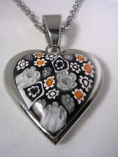 MURANO GLASS HEART PENDANT WITH CHAIN SET IN STAINLESS STEEL