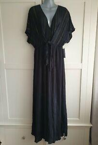 BNWT Ladies JUSTFAB Size XL UK 16 TALL Black Maxi Dress With Gold Detail
