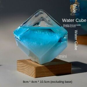 Weather Cube Glass Sculpture Ornament Figurine Tabletop Home Office Decoration S