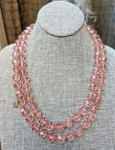 Heidi Daus Pink Faceted Crystal Bead Single Strand Long Beaded Knotted Necklace
