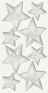 """Sticker """"Sterne silber mit Strass"""", Weihnachten, Winter, Advent, selbstklebend"""