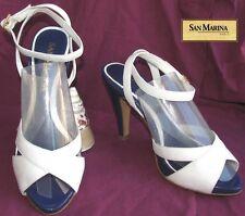 SAN MARINA Sandales tout cuir blanc & violet 38  EXCELLENT ETAT