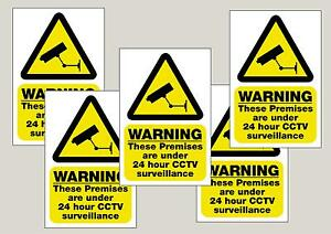 5 x CCTV Signs 24HR Surveillance S/A Stickers/Signs 100x150mm Free 1st class P&P