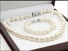 Natural AAA+10-11mm Akoya White Pearl Necklace Bracelet