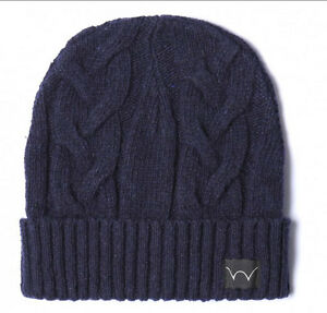 Edwin Shackle Beanie Hat Navy Blue Watch Cable Cap Wooly Ship internationally