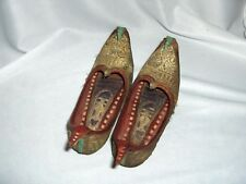 Vntg 1940's Hand Made Leather Genie Aladdin Children's Shoes Gold Brocade NICE