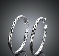2� Medium Round Hoop Earrings Unique Women 925 Sterling Silver Checkered Etched