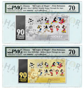 MICKEY MOUSE 90TH ANNIVERSARY - SILVER & GOLD COIN NOTE - PMG 70 FIRST RELEASES