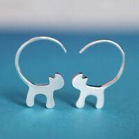 Mini Cute Jewelry Cat Earrings Ear Studs Silver Plated