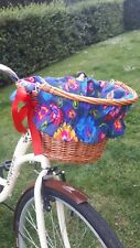 Bike Basket Liner Floral on Navy Blue-wicker metal insert cover cycling