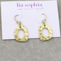 NWT Lia sophia jewelry cute gold plated drop hoop earrings free shippig