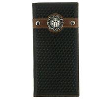 Men's Western Rodeo Bi-Fold Long Wallet Distressed Genuine Leather Cross Concho
