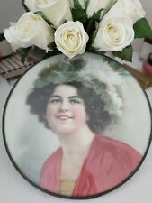 Vintage belgium Victorian Flue Antique Flu Cover girl frame picture