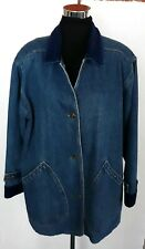 Vintage Blue Denim Coat Size Small Flannel Lined Out Brook Button Down Cotton