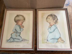 Vintage Nursery Framed Print/Lithograph Charlot Byi- Mid Century Modern