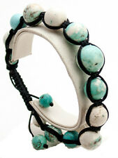 SEMIPRECIOUS TURQUOISE STONE SMOOTH BALL BEADED BLACK CORD SHAMBALLA  BRACELET