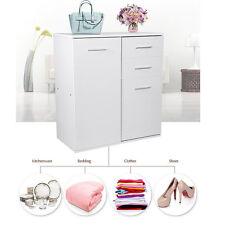 White Cupboard Sideboard Home Office Cabinet Wooden Storage 2 Doors 2 Drawers UK