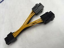 Dual 6 Pin Female To 8 Pin Male PCIE VGA Power Cable for NVIDIA ATI RADEON, USED