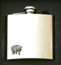 Bear Design Stainless Steel Hip Flask Gift Boxed New