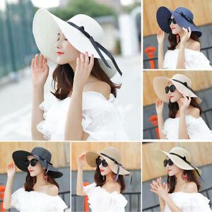 Women Ladies Summer Wide Brim Straw Hat Floppy Derby Beach Sun UV Foldable Cap